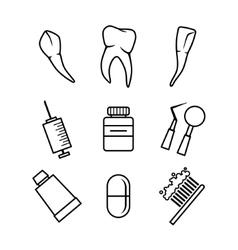 Dental icons set on white background vector