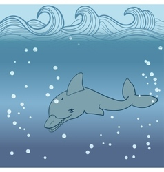 dolphin under water vector image vector image