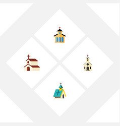 Flat icon building set of building architecture vector