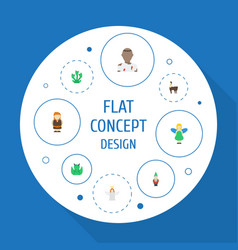 flat icons flying gnome huge man and other vector image vector image