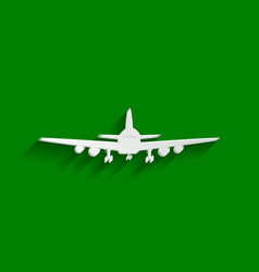 Flying plane sign front view paper vector