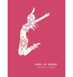 folk floral circles abstract jumping girl vector image vector image