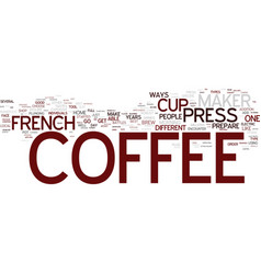 French press coffee maker text background word vector