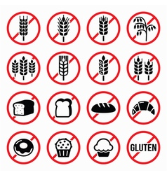 Gluten free signs no wheat no bread no cake vector image vector image