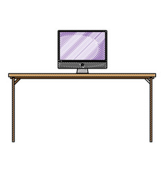 Grated wood desk object with computer technolgy vector
