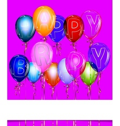 Happy birthday balloon background with gold vector