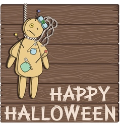 Happy Halloween card with a voodoo doll vector image