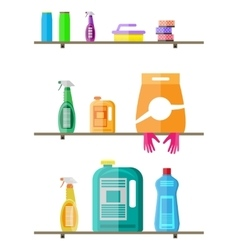 Household products on plastic shelves vector image