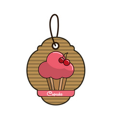 Label cup cake icon with delicious cherries vector