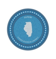Label with map of illinois Denim style vector image vector image