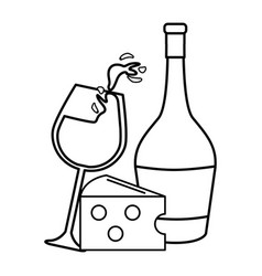 Line glass splashing wine and bottle and cheese vector