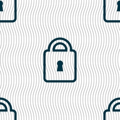 Lock icon sign Seamless pattern with geometric vector image