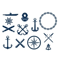 Marine and nautical icons set vector image vector image