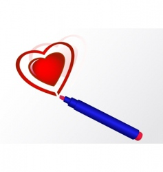 marker and heart vector image vector image