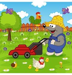 Mole cutting grass lawn mower vector