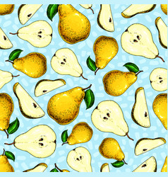 Pear seamless pattern hand drawn full and vector