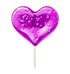 purple lollipop in the shape of a heart design vector image vector image