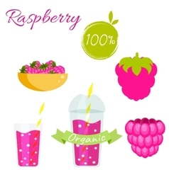 Raspberry fruit and smoothie juice set vector image vector image