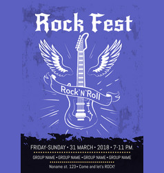 rock n roll fest announcement poster design vector image