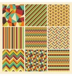 Seamless retro geometric hipster background set vector