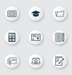 Set of 9 school icons includes certificate vector