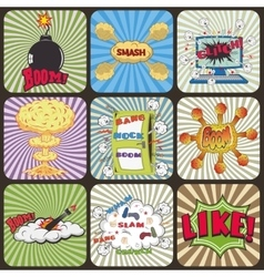 Set of retro comic book design elements vector
