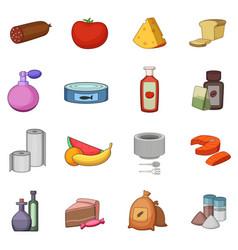 Supermarket department icons set cartoon style vector