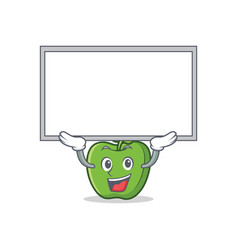 Up board green apple character cartoon vector