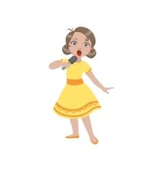 Girl in yellow dress singing in karaoke vector