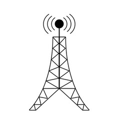 antenna tower broadcast connection pictogram vector image