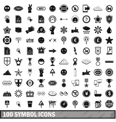 100 symbol icons set simple style vector image