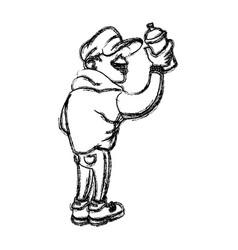 cartoon young guy graffiti spray sketch vector image
