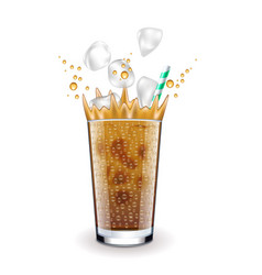 Ice latte with splashes isolated on white vector
