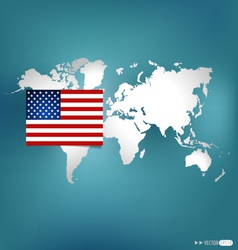 American flag on the map vector