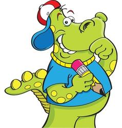 Cartoon dinosaur holding a pencil vector image