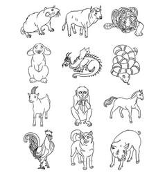 Twelve animals of the chinese horoscope vector