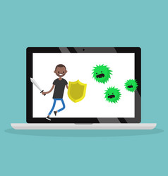 young black man fighting against virus flat vector image