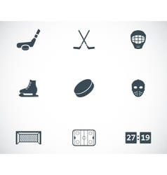 black hockey icons set vector image