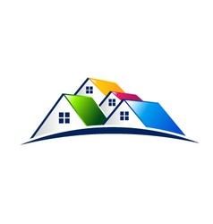 Neighborhood houses real estate concept logo vector