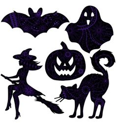 Halloween drawing silhouettes vector