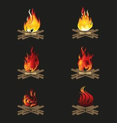Firewood and flame bonfire vector