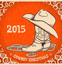 Western new year greeting card with cowboy objects vector
