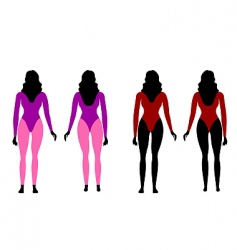 silhouettes of women in sportswear vector image