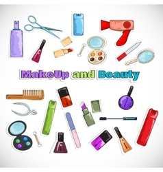 Beauty salon doodles vector