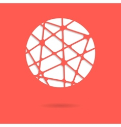 Abstract red mesh ball or circle with shadow vector
