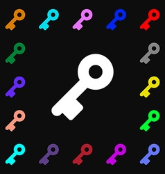 Key icon sign lots of colorful symbols for your vector