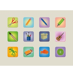 A set of different colourfull icons vector