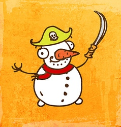 Pirate snowman cartoon vector