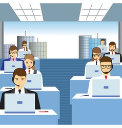 Men and women working in a call center vector