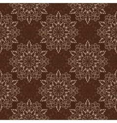 Seamless mandala pattern over dark brown vector